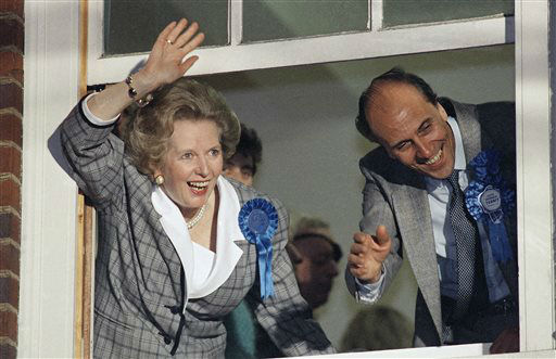 "<div class=""meta image-caption""><div class=""origin-logo origin-image ""><span></span></div><span class=""caption-text"">FILE - In this June 12, 1987 file photo, British Prime Minister Margaret Thatcher waves to supporters from Conservative Party headquarters in London after claiming victory in Britain's general election. Ex-spokesman Tim Bell says that Thatcher has died. She was 87. Bell said the woman known to friends and foes as ""the Iron Lady"" passed away Monday morning, April 8, 2013. (AP Photo/File) (AP Photo/ Gerald Penny)</span></div>"