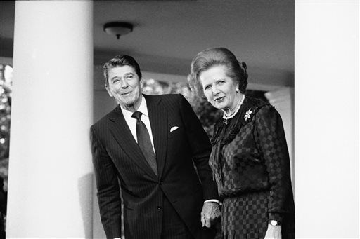 FILE - In this June 23, 1982 file photo, President Ronald Reagan and British Prime Minister Margaret Thatcher speak to reporters at the White House in Washington.  Ex-spokesman Tim Bell says that Thatcher has died. She was 87. Bell said the woman known to friends and foes as &#34;the Iron Lady&#34; passed away Monday morning, April 8, 2013. &#40;AP Photo&#47;File&#41; <span class=meta>(AP Photo&#47; Gerald Penny)</span>