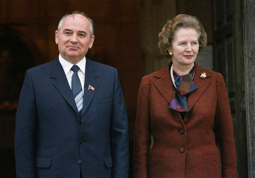 FILE - In this Dec. 15, 1984 file photo, Mikhail S. Gorbachev poses with Britain&#39;s Prime Minister Margaret Thatcher in London. Ex-spokesman Tim Bell says that Thatcher has died. She was 87. Bell said the woman known to friends and foes as &#34;the Iron Lady&#34; passed away Monday morning, April 8, 2013. &#40;AP Photo&#47;File&#41; <span class=meta>(AP Photo&#47; Gerald Penny)</span>
