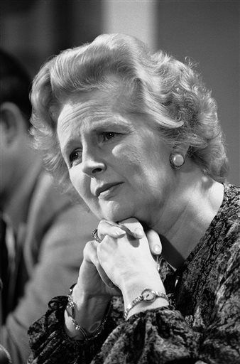 "<div class=""meta ""><span class=""caption-text "">FILE - In this Sept. 14, 1977 file photo, British Conservative Party Leader Margaret Thatcher listens to a reporters question during a press conference at the British Embassy in Washington. Ex-spokesman Tim Bell says that Thatcher has died. She was 87. Bell said the woman known to friends and foes as ""the Iron Lady"" passed away Monday morning, April 8, 2013. (AP Photo/File) (AP Photo/ Gerald Penny)</span></div>"