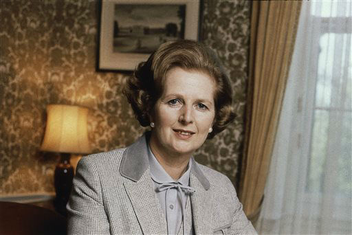 FILE - This is a 1980 file photo showing  British Prime Minister Margaret Thatcher. Ex-spokesman Tim Bell says that Thatcher has died. She was 87. Bell said the woman known to friends and foes as &#34;the Iron Lady&#34; passed away Monday morning, April 8, 2013. &#40;AP Photo&#47;File&#41; <span class=meta>(AP Photo&#47; Gerald Penny)</span>