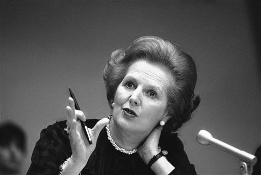 "<div class=""meta ""><span class=""caption-text "">FILE - In this June 23, 1982 file photo, Britain's Prime Minister Margaret Thatcher gestures with her pen as she answers a reporters question during a news conference at the United Nations. Ex-spokesman Tim Bell says that Thatcher has died. She was 87. Bell said the woman known to friends and foes as ""the Iron Lady"" passed away Monday morning, April 8, 2013. (AP Photo/File) (AP Photo/ Gerald Penny)</span></div>"
