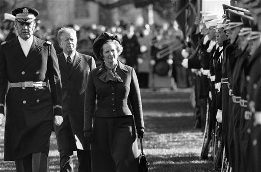 "<div class=""meta image-caption""><div class=""origin-logo origin-image ""><span></span></div><span class=""caption-text"">FILE - In this Dec. 17, 1979 file photo, British Prime Minister Margaret Thatcher  reviews the honor guard at the White House in Washington, as President Jimmy Carter follows.  At left in Col. Stanley Bonta, commander of the guard. Ex-spokesman Tim Bell says that Thatcher has died. She was 87. Bell said the woman known to friends and foes as ""the Iron Lady"" passed away Monday morning, April 8, 2013. (AP Photo/File) (AP Photo/ Gerald Penny)</span></div>"