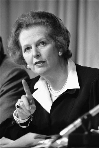 FILE - In this May 31, 1983 file photo, Britain&#39;s Prime Minister Margaret Thatcher raises her finger as she makes a point during a Conservative Party news conference in London. Ex-spokesman Tim Bell says that Thatcher has died. She was 87. Bell said the woman known to friends and foes as &#34;the Iron Lady&#34; passed away Monday morning, April 8, 2013. &#40;AP Photo&#47;File&#41; <span class=meta>(AP Photo&#47; Gerald Penny)</span>