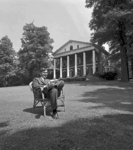 "<div class=""meta ""><span class=""caption-text "">Gore Vidal sits on the lawn of his Hudson River  mansion in Tarrytown, N.Y., Aug. 18, 1960. (AP Photo/files) (AP Photo/ XAG RJK)</span></div>"