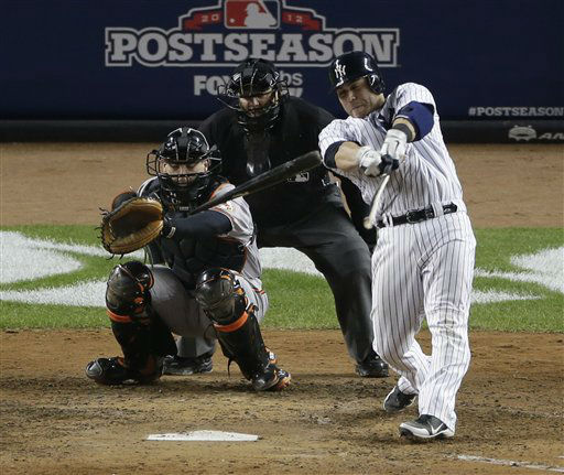 New York Yankees&#39; Russell Martin breaks his bat hitting the ball in the seventh inning in the in Game 4 of the American League division baseball series on Thursday, Oct. 11, 2012, in New York. Baltimore Orioles&#39; Matt Wieters is catching. &#40;AP Photo&#47;Peter Morgan&#41; <span class=meta>(AP Photo&#47; Peter Morgan)</span>