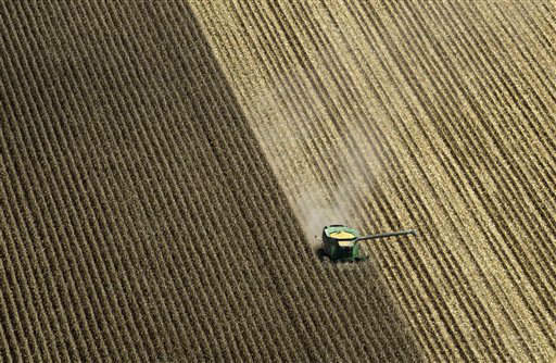 A combine harvests corn in a field near Coy, Ark., Thursday, Aug. 16, 2012.  Federal weather forecasters say drought conditions appear to be leveling off, although it is likely to continue at least through November. &#40;AP Photo&#47;Danny Johnston&#41; <span class=meta>(AP Photo&#47; Danny Johnston)</span>