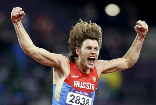 Russia&#39;s Ivan Ukhov reacts to his gold medal win in the men&#39;s high jump during the athletics in the Olympic Stadium at the 2012 Summer Olympics, London, Tuesday, Aug. 7, 2012. &#40;AP Photo&#47;Sergey Ponomarev&#41; <span class=meta>(AP Photo&#47; Sergey Ponomarev)</span>