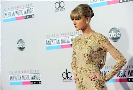 "<div class=""meta image-caption""><div class=""origin-logo origin-image ""><span></span></div><span class=""caption-text"">Taylor Swift arrives at the 40th Anniversary American Music Awards on Sunday, Nov. 18, 2012, in Los Angeles. (Photo by John Shearer/Invision/AP) (AP Photo/ John Shearer)</span></div>"