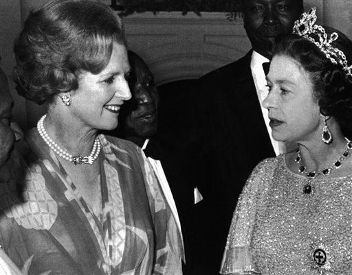 "<div class=""meta image-caption""><div class=""origin-logo origin-image ""><span></span></div><span class=""caption-text"">FILE- This is a Aug. 1, 1979 file photo of Britain's Queen Elizabeth II talks with British Prime Minister, Margaret Thatcher, left,  at a reception for the 39 heads of delegations attending the Commonwealth Conference in Lusaka, Zambia.  Former British Prime Minister Margaret Thatcher, whose conservative ideas made an enduring impact on Britain,  died Monday April 8, 2013. She was 87.   (AP Photo, File) (AP Photo/ Uncredited)</span></div>"
