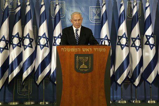 "<div class=""meta ""><span class=""caption-text "">Israeli prime minister Benjamin Netanyahu speaks to the media in Tel Aviv, Israel, Thursday, Nov. 15, 2012. Netanyahu told reporters on Thursday that Israel has ""made it clear"" it won't tolerate continued rocket fire on its civilians. (AP Photo/Dan Balilty) (AP Photo/ Dan Balilty)</span></div>"
