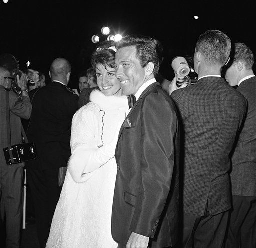 Arriving for the annual Academy Award presentations, April 9, 1962 in Santa Monica, California, are Singer Andy Williams and wife, Claudine Longet. He was one the evening?s program as singer of one of the five nominated for best film songs of the year. &#40;AP Photo&#41; <span class=meta>(AP Photo&#47; Anonymous)</span>