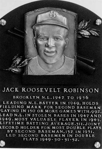 "<div class=""meta ""><span class=""caption-text "">Jackie Robinson, Hall of Fame plaque, National Baseball Hall of Fame, Cooperstown, NY. Elected 1962.  (AP Photo) (AP Photo/ XSS)</span></div>"