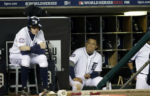 Detroit Tigers&#39; Miguel Cabrera watches from the dugout during the ninth inning of Game 3 of baseball&#39;s World Series against the San Francisco Giants Saturday, Oct. 27, 2012, in Detroit. &#40;AP Photo&#47;David J. Phillip&#41; <span class=meta>(AP Photo&#47; David J. Phillip)</span>