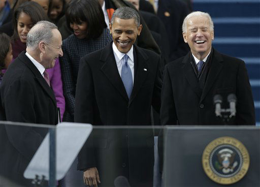 "<div class=""meta ""><span class=""caption-text "">Flanked by Sen. Charles Schumer, D-N.Y., President Barack Obama and Vice President Joe Biden arrive at the ceremonial swearing-in at the U.S. Capitol during the 57th Presidential Inauguration in Washington, Monday, Jan. 21, 2013. (AP Photo/Pablo Martinez Monsivais) (AP Photo/ Pablo Martinez Monsivais)</span></div>"