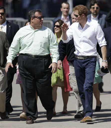"<div class=""meta ""><span class=""caption-text "">Britain's Prince Harry, right, walks with New Jersey Gov. Chris Christie at Casino Pier during a tour of the area hit by Superstorm Sandy, Tuesday, May 14, 2013, in Seaside Heights, N.J. The prince toured the community's rebuilt boardwalk, which is about two-thirds complete. New Jersey sustained about $37 billion worth of damage from the storm. (AP Photo/Julio Cortez) (AP Photo/ Julio Cortez)</span></div>"