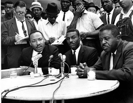 FILE - In a May 8, 1963 file photo, civil rights leaders, Rev. Martin Luther King Jr., left, Rev. Fred Shuttlesworth, center, and Rev. Ralph Abernathy hold a news conference in Birmingham, Ala. The Rev. Fred Shuttlesworth, who was hailed by the Rev. Martin Luther King Jr. for his courage and energy, died Wednesday, Oct. 5, 2011 at the Birmingham, Ala. hospital. He was 89.   &#40;AP Photo, File&#41; <span class=meta>(AP Photo&#47; XNBG SEP**NY**)</span>