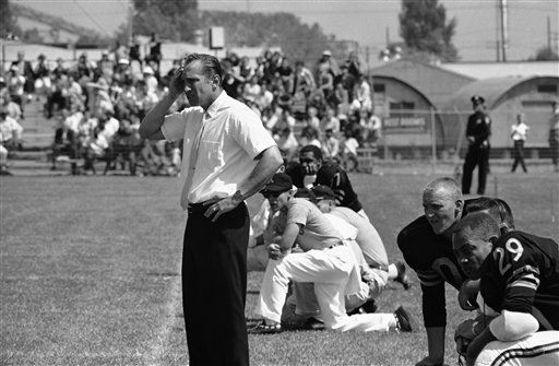 Head Coach Al Davis of the Oakland Raiders, who is also general manager, shows deep concern as he watches his players in action at Youell Field in Oakland, August 4, 1963 against the Boston Patriots in first exhibition game of the season. Davis had a happier appearance after the game ended, with Oakland upsetting Boston, 24 to 17. Davis took over his dual post at Oakland last spring. &#40;AP Photo&#41; <span class=meta>(AP Photo&#47; XJFM)</span>