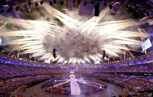 Fireworks explode during the Closing Ceremony at the 2012 Summer Olympics, Monday, Aug. 13, 2012, in London. &#40;AP Photo&#47;Alastair Grant&#41; <span class=meta>(AP Photo&#47; Alastair Grant)</span>