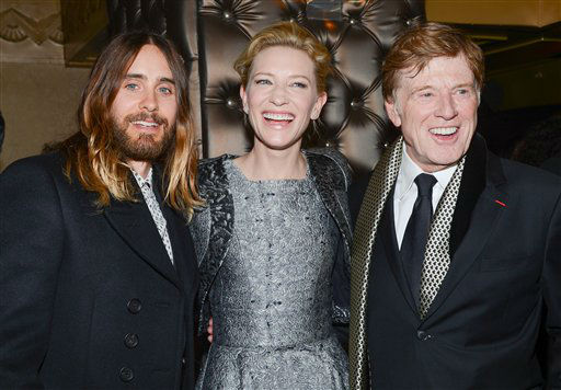 Best Supporting Actor winner Jared Leto, left, Best Actress winner Cate Blanchett and Best Actor winner Robert Redford attend the 79th Annual New York Film Critics Circle Awards at the Edison Ballroom on Monday, Jan. 6, 2014 in New York. (Photo by Evan Agostini/Invision/AP)