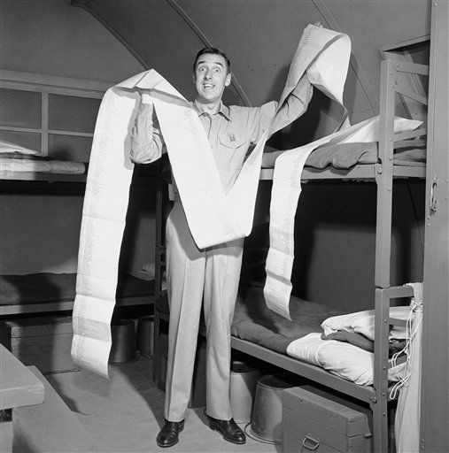 Jim Nabors, who plays the title role on television&#39;s &#34;Gomer Pyle - USMC&#34; looks over a 21-foot-long telegram received on Sept. 30, 1964 in Los Angeles from his home town of Sylacauga, Alabama. The telegram message, congratulating him on his success in the entertainment, took only two inches. The rest of the non-stop wire consisted of names of 750 Sylacauga families who sent the message. &#40;AP Photo&#41; <span class=meta>(AP Photo&#47; Anonymous)</span>
