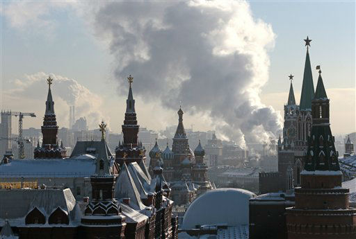 "<div class=""meta ""><span class=""caption-text "">Steam from an electric power plant rises over Red Square with historical museum, left, St. Basil's cathedral, central, and Kremlin, right, in downtown Moscow, Russia, Wednesday, Jan. 23, 2013. After two weeks of snowfall Moscow enjoyed a cold sunny day. The Lenin Mausoleum, bottom center, is seen covered for reconstruction. (AP Photo/Mikhail Metzel)</span></div>"