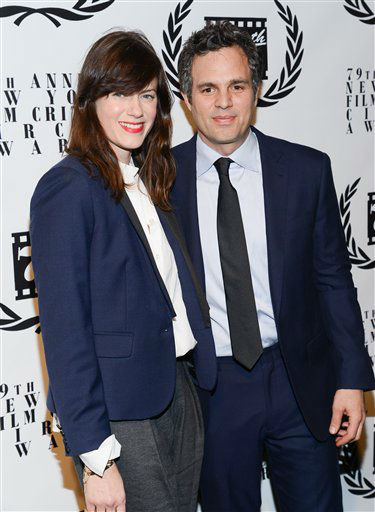 Actor Mark Ruffalo and wife Sunrise Coigney attend the 79th Annual New York Film Critics Circle Awards at the Edison Ballroom on Monday, Jan. 6, 2014 in New York. (Photo by Evan Agostini/Invision/AP)