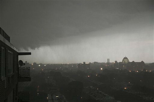 A thunderstorm rolls into the Brooklyn borough of New York on Thursday, July 26, 2012.  An outbreak of severe thunderstorms including widespread damaging winds are sweeping over parts of New York with tornado warnings. &#40;AP Photo&#47;Bebeto Matthews&#41; <span class=meta>(AP Photo&#47; Bebeto Matthews)</span>