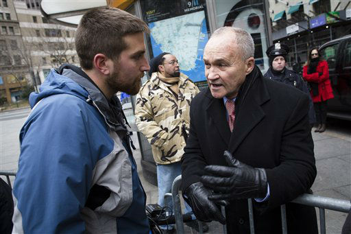 "<div class=""meta ""><span class=""caption-text "">New York Police Commissioner Ray Kelly chats with a man at the One Million Moms for Gun Control Rally outside City Hall park, Jan. 21, 2012, in New York. Demonstrators called for new gun control legislation with a march over the Brooklyn bridge and a rally at City Hall Park. (AP Photo/John Minchillo) (AP Photo/ John Minchillo)</span></div>"