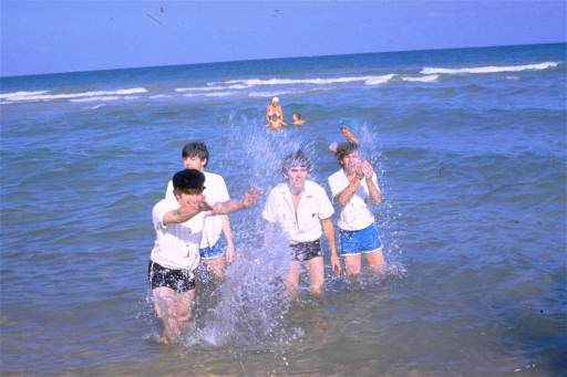 The Beatles, from left, John Lennon, Paul McCartney, George Harrison and Ringo Starr, splash in the water in Nassau, Bahamas, during filming of &#34;Help!&#34;  in Feb. 1965.  &#40;AP Photo&#41; <span class=meta>(AP Photo&#47; XML)</span>