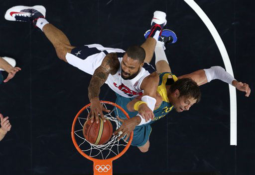 "<div class=""meta ""><span class=""caption-text "">USA's Tyson Chandler slams a dunk against  Australia's David Andersen during a men's quarterfinals basketball game at the 2012 Summer Olympics, Wednesday, Aug. 8, 2012, in London. (AP Photo/Charles Krupa) (AP Photo/ Charles Krupa)</span></div>"