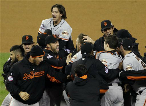 The San Francisco Giants celebrate after winning Game 4 of baseball&#39;s World Series against the Detroit Tigers Sunday, Oct. 28, 2012, in Detroit. The Giants won 4-3 to win the series. &#40;AP Photo&#47;Paul Sancya &#41; <span class=meta>(AP Photo&#47; Paul Sancya)</span>