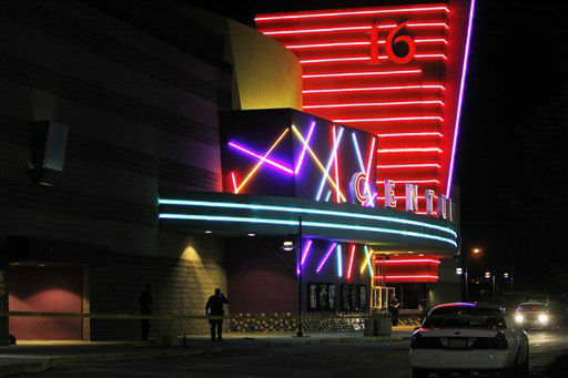 Police are pictured outside of a  Century 16 movie theatre where as many as 14 people were killed and many injured at a shooting during the showing of a movie at the in Aurora, Colo., Friday, July 20, 2012. &#40;AP Photo&#47;Ed Andrieski&#41; <span class=meta>(AP Photo&#47; Ed Andrieski)</span>