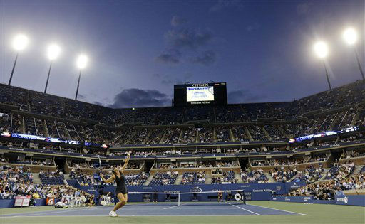 Maria Sharapova, of Russia, serves to Lourdes Dominguez Lino, of Spain, during a match at the U.S. Open tennis tournament, Wednesday, Aug. 29, 2012, in New York. &#40;AP Photo&#47;Darron Cummings&#41; <span class=meta>(AP Photo&#47; Darron Cummings)</span>