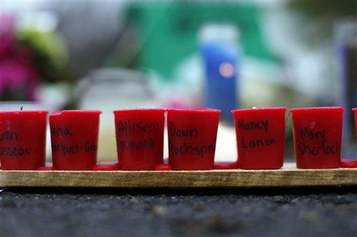 "<div class=""meta image-caption""><div class=""origin-logo origin-image ""><span></span></div><span class=""caption-text"">Candles with the names of shooting victims written on them sit at a memorial near Sandy Hook Elementary School, Sunday, Dec. 16, 2012 in Newtown, Conn.  A gunman walked into Sandy Hook Elementary School in Newtown Friday and opened fire, killing 26 people, including 20 children. (AP Photo/Jason DeCrow) (AP Photo/ Jason DeCrow)</span></div>"