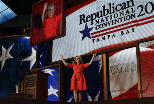 "<div class=""meta ""><span class=""caption-text "">Ann Romney, wife of U.S. Republican presidential nominee Mitt Romney, waves as she walks up to the podium to address the Republican National Convention in Tampa, Fla., on Tuesday, Aug. 28, 2012. (AP Photo/Charles Dharapak) (AP Photo/ Charles Dharapak)</span></div>"