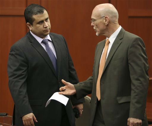 "<div class=""meta ""><span class=""caption-text "">George Zimmerman, left, talks to his attorney, Don West, during jury deliberations in his trial in Sanford, Fla., Saturday, July 13, 2013. Zimmerman has been charged with second-degree murder for the 2012 shooting death of Trayvon Martin. (AP Photo/Orlando Sentinel, Gary W. Green, Pool) (AP Photo/ Gary W. Green)</span></div>"