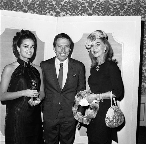 Nominations in the 24th Annual Golden Globe Awards competition of the Hollywood Foreign Association were held at the Ambassador Hotel in Los Angeles on Jan. 16, 1967. Shown are ?Miss Golden Globes? Corinne Tsopei, left, Andy Williams and Hedy Lamarr. &#40;AP Photo&#41; <span class=meta>(AP Photo&#47; Anonymous)</span>