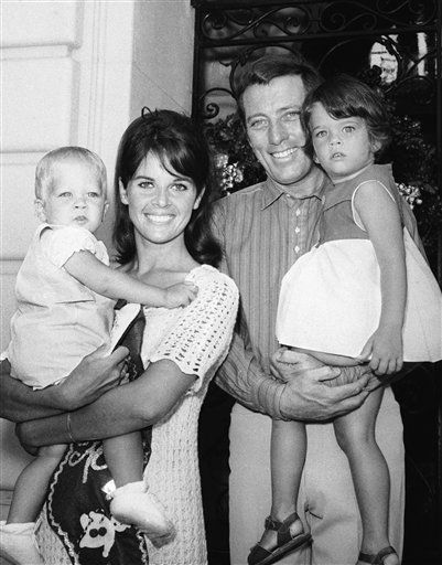 Andy Williams, star of his own weekly NBC-TV show, proudly presents his real-life family in Los Angeles on Feb. 10, 1967. His wife, Claudine Longet, holds their almost 2-year-old son, Christian. Proud papa Andy holds daughter Noelle who will be three in March. &#40;AP Photo&#41; <span class=meta>(AP Photo&#47; Anonymous)</span>