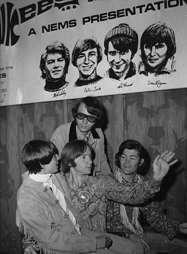 The U.S. American Pop band &#34;The Monkees&#34;, are seen beneath a poster with sketches of themselves, during their press conference in London, England, Thursday June 29, 1967. They are from left to right: Davy Jones, Peter Tork, Mike Nesmith and Mikey Dolenz.. The band arrived yesterday and will give their first concert tomorrow at the Empire Pool, here in London. &#40;AP Photo&#47;Worth&#41; <span class=meta>(AP Photo&#47; WORTH)</span>