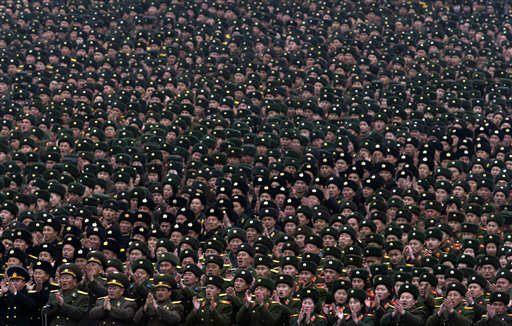 North Korean soldiers attend a mass rally organized to celebrate the success of a rocket launch that sent a satellite into space, on Kim Il Sung Square in Pyongyang, North Korea, Friday, Dec. 14, 2012. As the U.S. led international condemnation of what it calls a covert test of missile technology, top North Korean officials denied the allegations and maintained the country&#39;s right to develop its space program. &#40;AP Photo&#47;Ng Han Guan&#41; <span class=meta>(AP Photo&#47; Ng Han Guan)</span>
