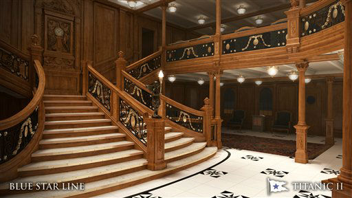 "<div class=""meta image-caption""><div class=""origin-logo origin-image ""><span></span></div><span class=""caption-text"">In this rendering provided by Blue Star Line, the grand staircase on the Titanic II is shown. The replica ship, which Australian billionaire Clive Palmer is planning to build in China, is scheduled to sail in 2016. Palmer said his ambitious plans to launch a copy of the Titanic and sail her across the Atlantic would be a tribute to those who built and backed the original. (AP Photo/Blue Star Line) (AP Photo/ Uncredited)</span></div>"