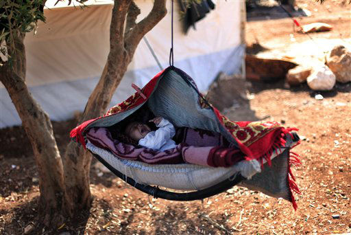 "<div class=""meta ""><span class=""caption-text "">A Syrian baby cries as he lays on a swing attached to a tree at a displaced camp, in the Syrian village of Atma, near the Turkish border with Syria, Monday, Nov. 5, 2012. (AP Photo/ Khalil Hamra)</span></div>"