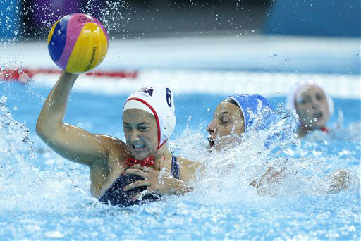Maggie Steffens, left, of the United States, resists a challenge from Teresa Frassinetti of Italy during their women&#39;s water polo quarterfinal match at the 2012 Summer Olympics, Sunday, Aug. 5, 2012, in London. &#40;AP Photo&#47;Alastair Grant&#41; <span class=meta>(AP Photo&#47; Alastair Grant)</span>
