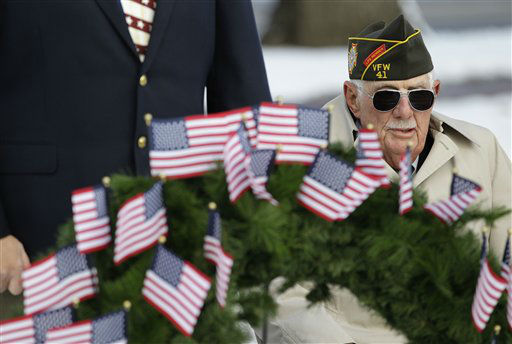 A World War II veteran participates in a Veterans Day ceremony in the small town of Loveland, Colo., Sunday Nov. 11, 2012.&#40;AP Photo&#47;Brennan Linsley&#41; <span class=meta>(AP Photo&#47; Brennan Linsley)</span>