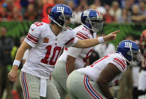 "<div class=""meta ""><span class=""caption-text "">New York Giants quarterback Eli Manning (10) calls a play against the Cincinnati Bengals in the first half of an NFL football game, Sunday, Nov. 11, 2012, in Cincinnati. (AP Photo/Al Behrman) (AP Photo/ Al Behrman)</span></div>"