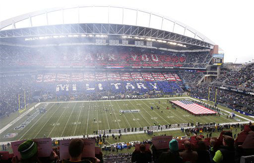 "<div class=""meta ""><span class=""caption-text "">An overall interior view of CenturyLink Field before New York Jets take on the Seattle Seahawks in a NFL football game, Sunday, Nov. 11, 2012, in Seattle. (AP Photo/Stephen Brashear) (AP Photo/ Stephen Brashear)</span></div>"