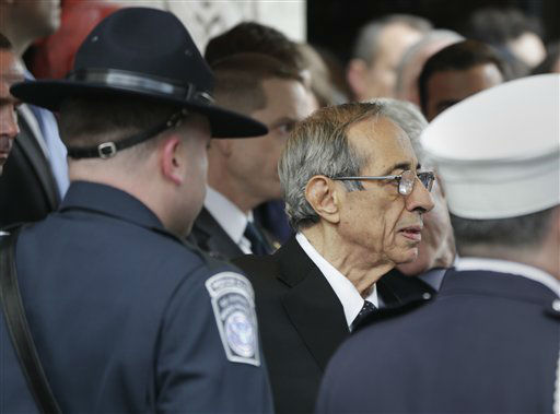 Former Governor of New York Mario Cuomo leaves the synagogue after the funeral of former New York City Mayor Ed Koch in New York, Monday, Feb. 4, 2013. Koch was remembered as the quintessential New Yorker during a funeral that frequently elicited laughter, recalling his famous one-liners and amusing antics in the public eye. Koch died Friday of congestive heart failure at age 88. &#40;AP Photo&#47;Seth Wenig&#41; <span class=meta>(AP Photo&#47; Seth Wenig)</span>
