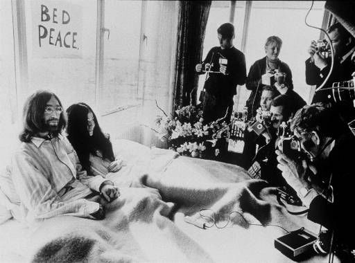 This 1969 black and white photograph of Yoko Ono and John Lennon entitled &#34;Bed-In for Peace&#34; taken at the Hilton Hotel in Amsterdam. &#40;AP Photo&#41;&#41; <span class=meta>(AP Photo&#47; Anonymous)</span>
