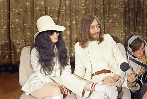 John Lennon, right, is seen with his wife Yoko Ono at a press conference in 1969.  &#40;AP Photo&#41; <span class=meta>(AP Photo&#47; XMB)</span>